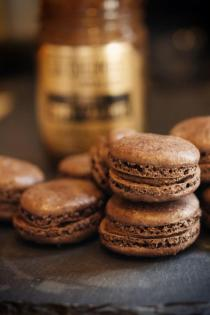 Dark Chocolate Macarons with Coffee Caramel Filling