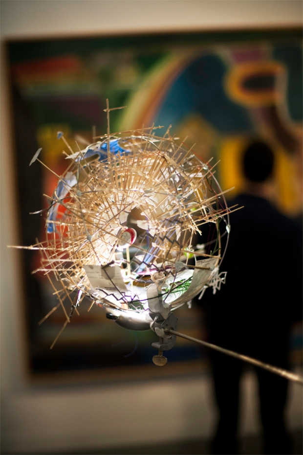 Spherical art piece illuminated